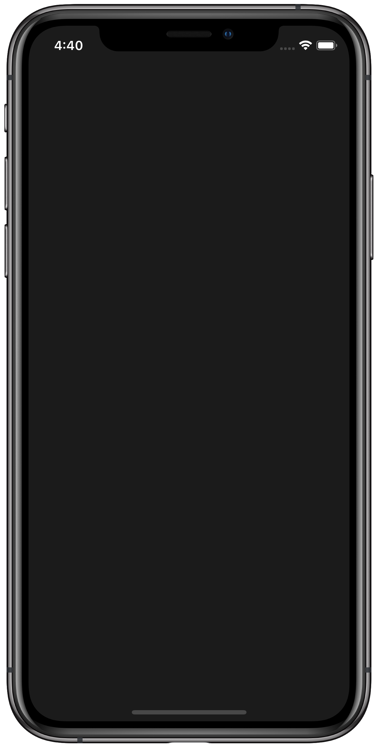 Dark iPhone app with light status bar