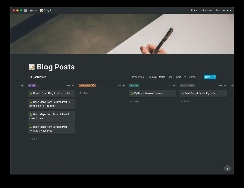 Kanban View of My Blog Posts