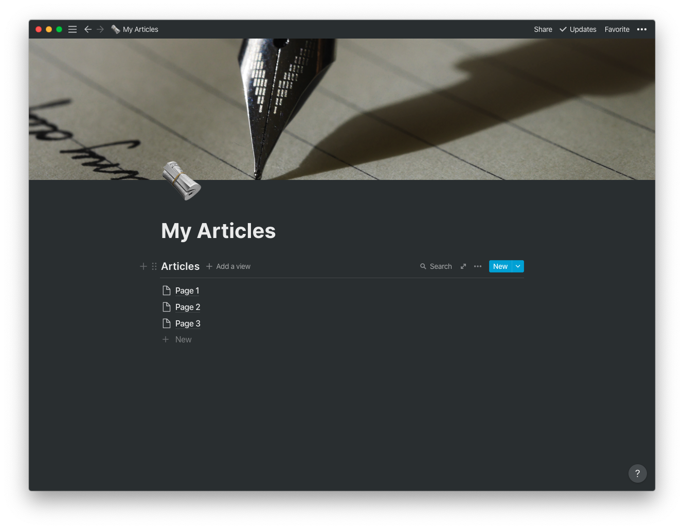 Articles List with Toolbar