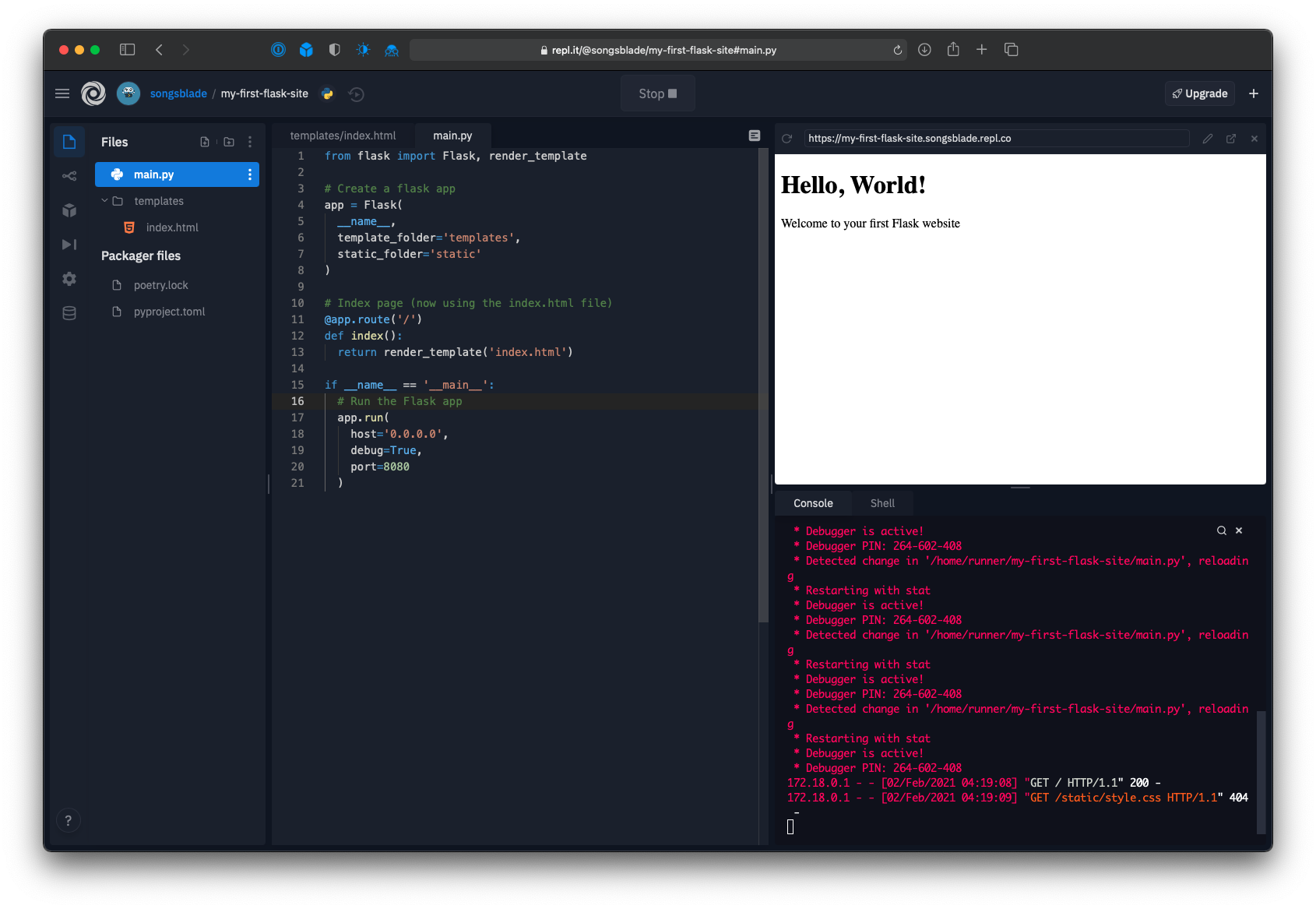 Repl editor showing the web app's new large header